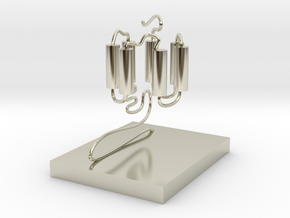 GPCR(3D With Stand) in 14k White Gold
