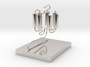 GPCR(3D With Stand) in Rhodium Plated Brass