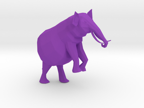 Low Poly Elephant in Purple Processed Versatile Plastic