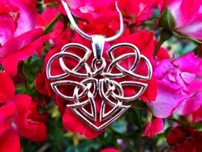 Heart Celtic Knot Pendant in 14k Rose Gold Plated Brass
