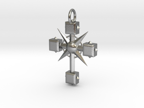 Pendant Cross And Spikes 01 - MCDStudios in Natural Silver