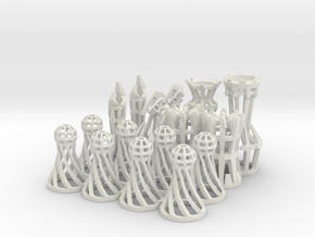 The Wire - Chess Set in White Natural Versatile Plastic