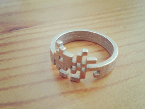 Space Monster Ring - Inspired By Space Invaders in Polished Bronzed Silver Steel