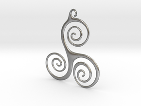 Three Waves Pendant in Natural Silver