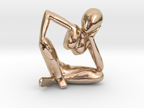 Small African Sculpture in 14k Rose Gold Plated Brass