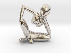 Small African Sculpture in Rhodium Plated Brass