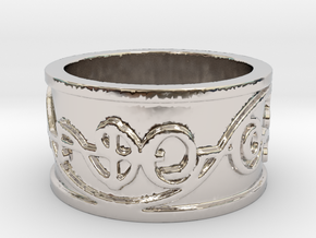 """IDIC"" Vulcan Script Ring - Embossed Style in Rhodium Plated Brass: 5 / 49"