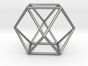 Vector Equilibrium - Cuboctahedron 40mm Sacred Geo in Natural Silver