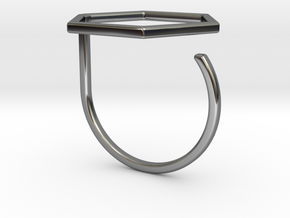 Hexagon ring shape. in Fine Detail Polished Silver
