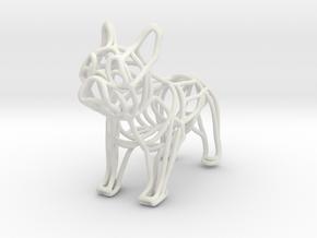 French Bulldog Bottle Opener Keychain in White Natural Versatile Plastic