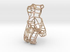 Bear Bottle Opener Keychain  in 14k Rose Gold Plated Brass