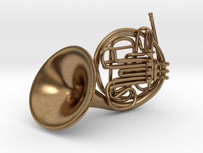 French Horn Pendant in Natural Brass