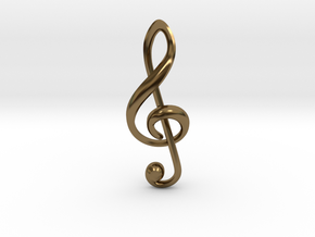 Treble Clef Pendant in Polished Bronze