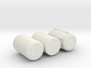 sci fi Barrels in White Natural Versatile Plastic