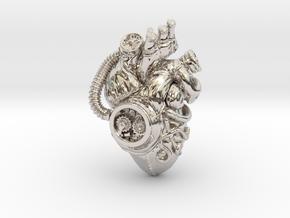 SteamPunk  Heart pendant in Rhodium Plated Brass