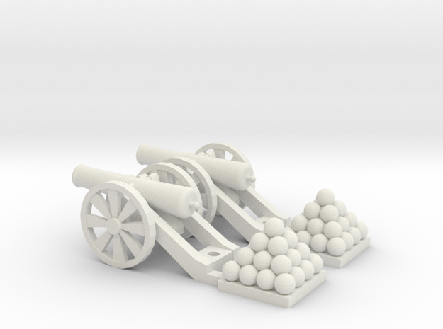 Cannon (Light) Qty - (2) HO 1:87 scale in White Natural Versatile Plastic