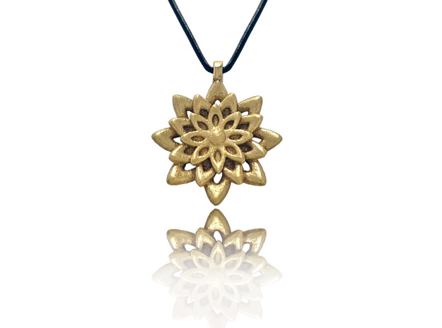 Lotus Flower Symbol Jewelry Necklace in Polished Brass