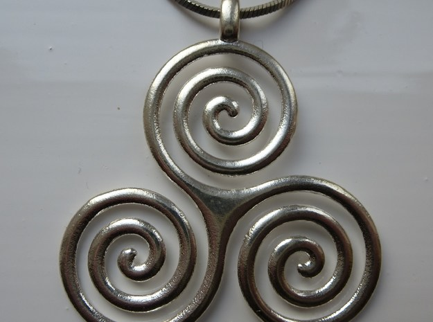 TRIPLE SPIRAL Symbolic Jewelry Pendant in Natural Silver