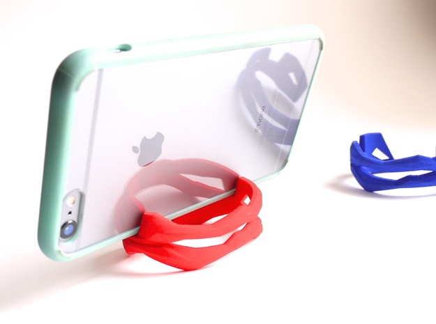 iPhone Stand - ST(r)AND CUFF - iPhone 7 / 6 / Plus in Red Strong & Flexible Polished: Small