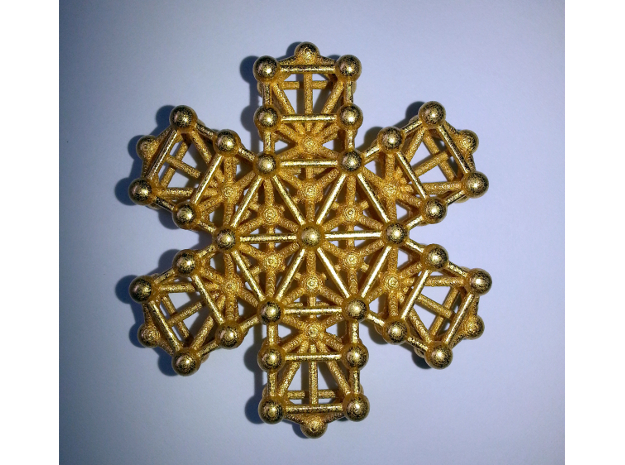 Snowflake of Life v 2.0 in Polished Gold Steel