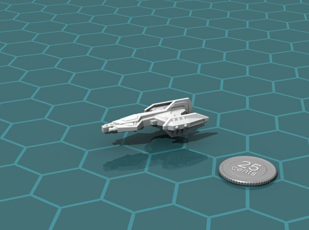 Rukk Escort 3d printed Renders of the model, with a virtual quarter for scale.
