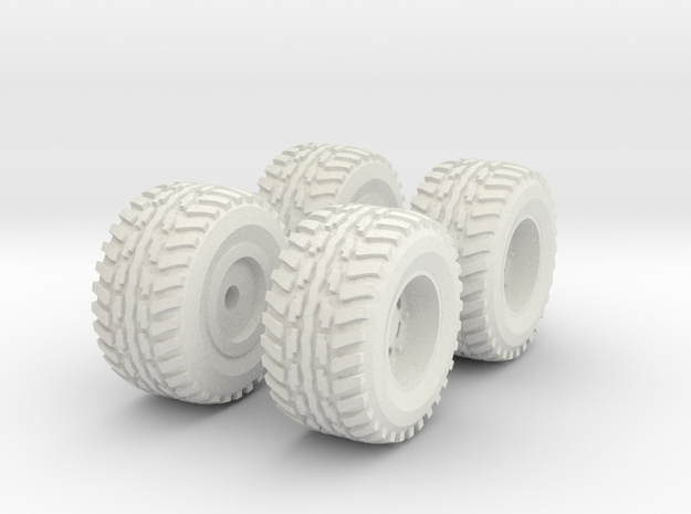 1/64 Scale New Style 4x4 Mud Set in White Natural Versatile Plastic