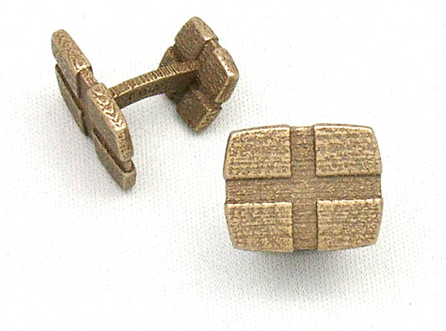 CheckeredCufflinks in Polished Bronzed Silver Steel