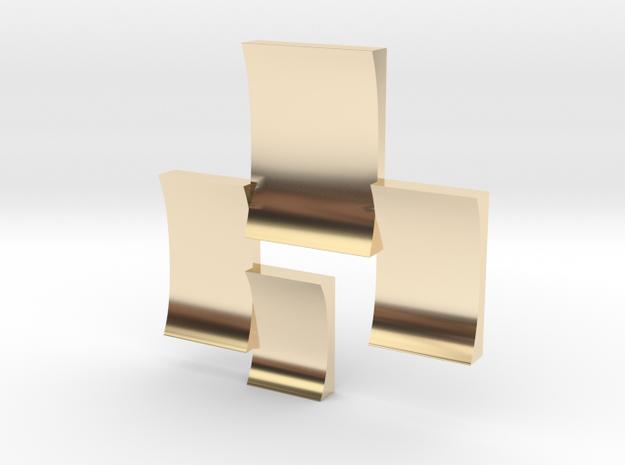Blocks ear stud in 14k Gold Plated