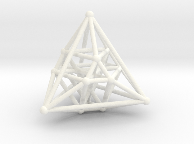Hyper Tetrahedron Vector Net  in White Processed Versatile Plastic