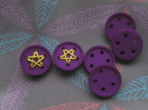 """5/8"""" five-holed buttons (dozen) in Purple Strong & Flexible Polished"""