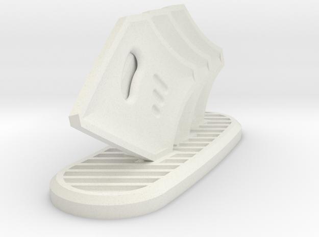 DE Small Sheild Wall in White Natural Versatile Plastic