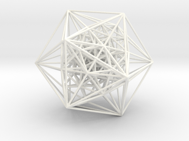 600-Cell, Perspective Projection, Vertex centered in White Processed Versatile Plastic