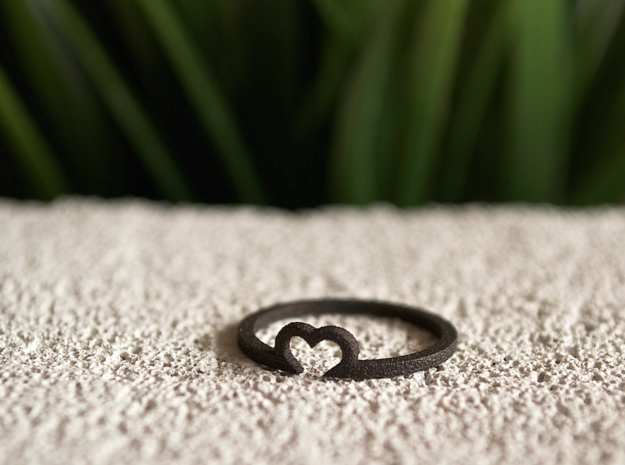Heart Ring - Size Medium in Matte Black Steel