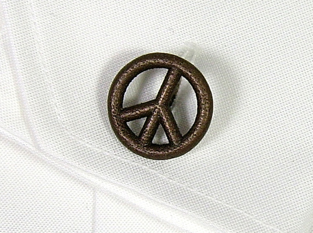 Peace&LoveCufflinks 3d printed