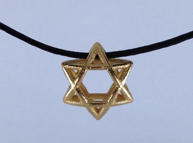 Star Of David, mini 3d printed Glossy gold plated on a leather cord