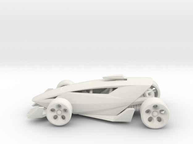 Shredder Race Car Toy in White Natural Versatile Plastic