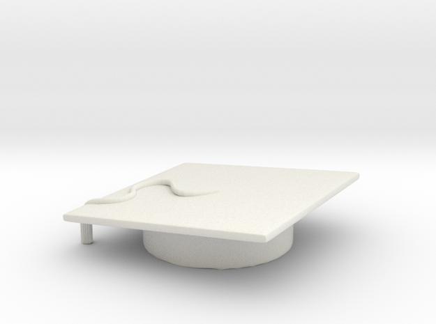 Customizeable Graduation Cap in White Natural Versatile Plastic
