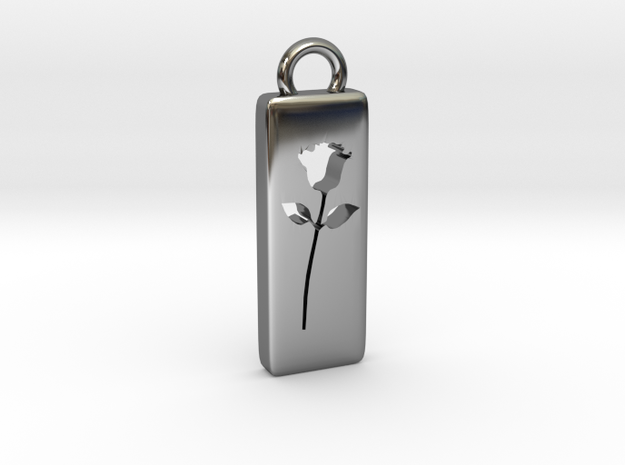 Rose Pendant in Fine Detail Polished Silver