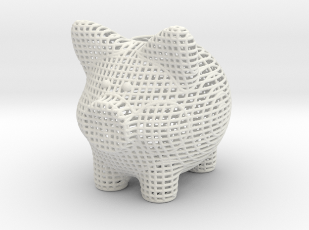 Wire Frame Piggy Bank 4 Inch Tall in White Natural Versatile Plastic