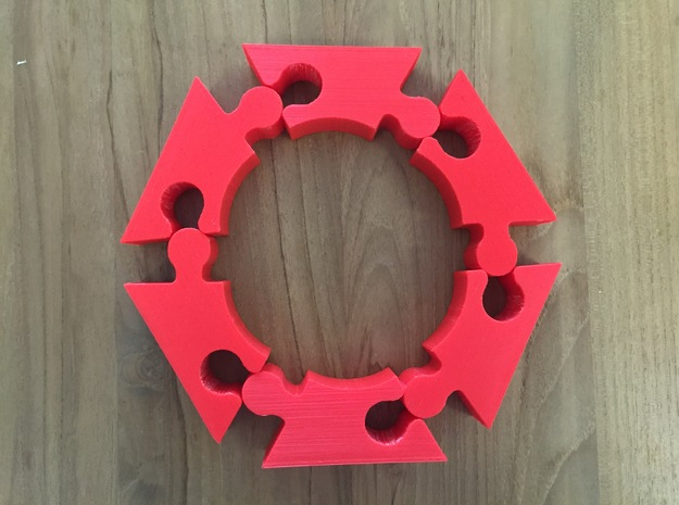 The Impossible Puzzle (Requires 6 pieces) in Red Processed Versatile Plastic