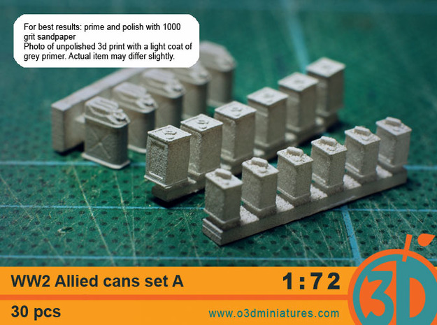 WW2 Allied Cans 1/72 scale Set A 3d printed