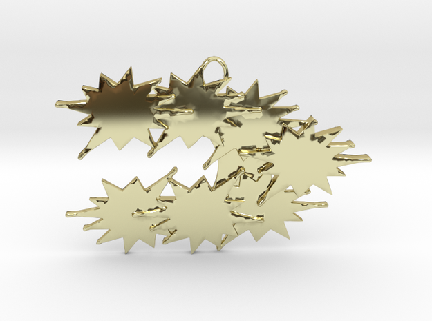 Stars Stream Conglomerating , Pendant. in 18k Gold Plated Brass
