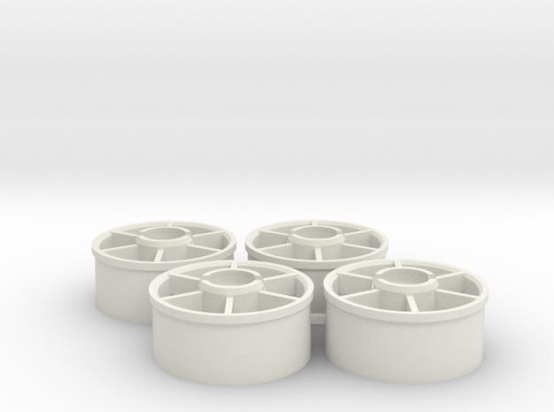 Mini-z Marka Wheelset +1.5mm in White Natural Versatile Plastic