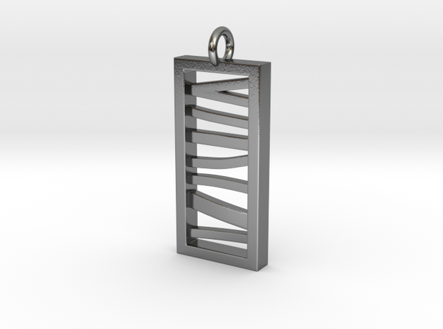 Stacked Bar Pendant in Polished Silver