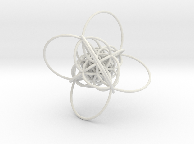 600-Cell, Stereographic projection, Cell centered in White Natural Versatile Plastic