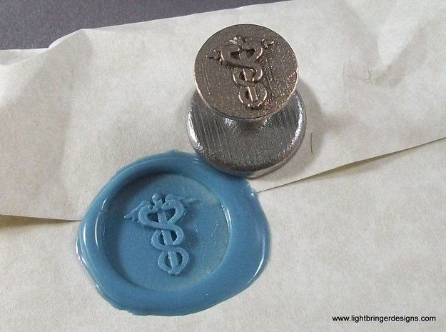 Caduceus Wax Seal (Doctor's Staff) in Stainless Steel