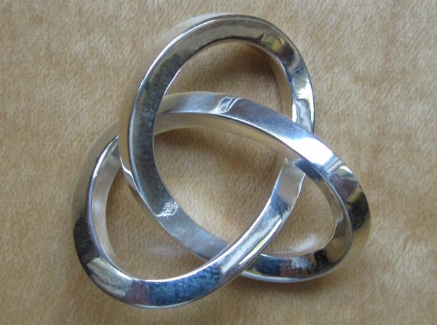 Knotted Mobius Band in Polished Silver