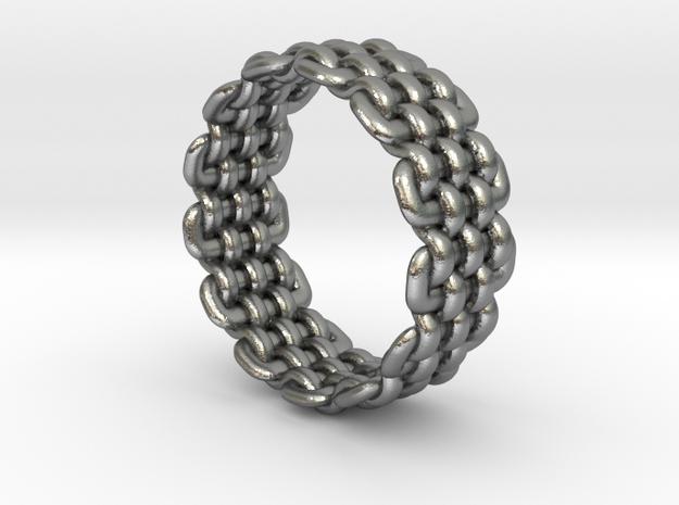 Wicker Pattern Ring Size 10 in Raw Silver