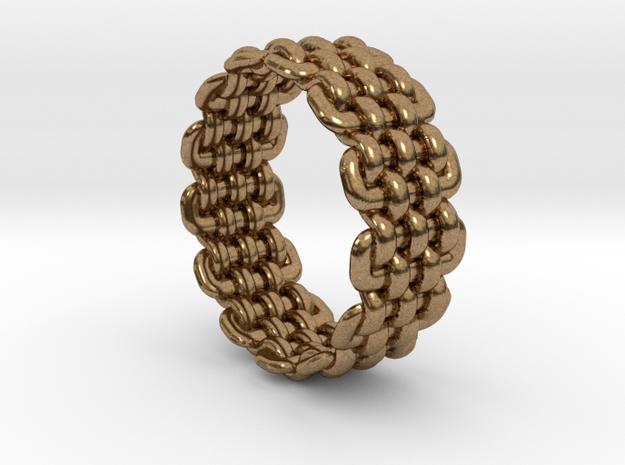 Wicker Pattern Ring Size 5 in Raw Brass