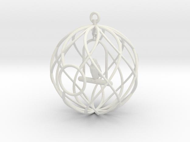 Birdcage Ornament in White Natural Versatile Plastic